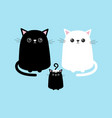 black white cute cat sitting kitten set family vector image
