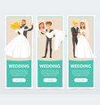 brides in white wedding dress and grooms in black vector image vector image