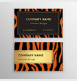 business card trendy zebra and tiger pattern vector image vector image