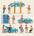 Car service elements set vector image