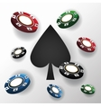Chips and spade for poker and casino game design vector image vector image