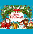 christmas santa gifts wreath greeting card vector image