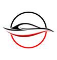 circular abstract red car shape symbol vector image vector image