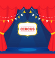 circus stage with lights red curtains and marquee vector image vector image