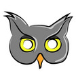 cool owl mask on white background vector image vector image