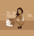 cute girl sitting in front of books in a library v vector image vector image