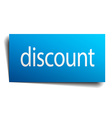 discount blue paper sign on white background vector image vector image