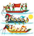 dragon boat colorful flat set vector image vector image