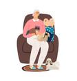 elderly dog lover vector image vector image