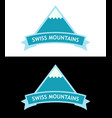 emblem with swiss alps logo in blue color vector image vector image