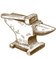 engraving anvil and hammer vector image vector image