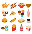 fast food color icon set isometric view vector image vector image