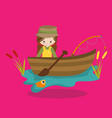 fishing side girl 03 vector image vector image