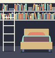 Flat Design Single Bed With Ladder On Bookshelves vector image vector image