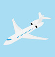 flying business jet airplane isolated on blue vector image
