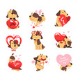 funny jack russell terrier dog with hearts set vector image