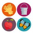 gardening equipment set flat icons vector image vector image