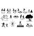 gautama buddha life story in stick figure icons vector image