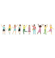group happy people with waving hands vector image vector image