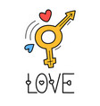 hand draw love sex icon in doodle style for your vector image vector image