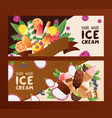 hand made ice cream banner vector image