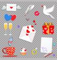 happy valentine day cartoon icon set on vector image