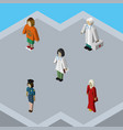 isometric human set of doctor lady medic and vector image