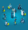 isometric infographic airport service concept pas vector image vector image