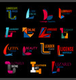 l creative modern corporate identity icons set vector image vector image
