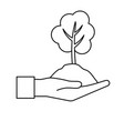 line hand with natural tree and ground icon vector image