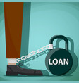 man chained to kettlebell with the word loan vector image