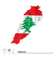 Map of Lebanon with flag vector image