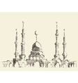 Mosque vintage hand drawn sketch vector image vector image