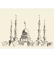 mosque vintage hand drawn sketch vector image vector image
