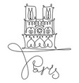 one line sketch notre dame de paris vector image