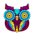 ornamental color owl with flowers and mandala vector image vector image