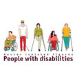 people with disabilities isolate objects on white vector image