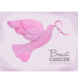 Pink dove for breast cancer awareness vector image vector image