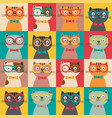 seamless pattern with colorful cats in squares vector image