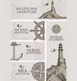 set banners on theme ocean adventure vector image
