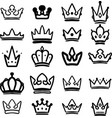 set hand drawn crowns isolated on white vector image vector image