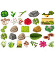 set isolated objects theme - gardening vector image