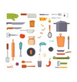 Set kitchen utensils cooking tools flat