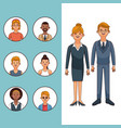 set of people profile vector image