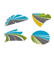 Speedy highway roads icons for traveling design vector image vector image