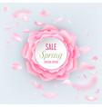 spring sale typography with rose petals vector image