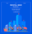 square flat banner bike rental city service vector image vector image