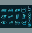 sushi set icons blue glowing neon style vector image