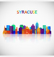syracuse skyline silhouette in colorful geometric vector image vector image