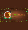 tea house cup of tea with lemon wooden vector image vector image